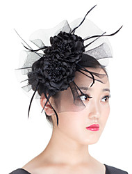 Women Polyester Mesh Flowers Fascinators Hat  Wedding Headpiece Beige/Blue/Black