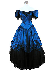 One-Piece/Dress Gothic Lolita Steampunk® / Victorian Cosplay Lolita Dress Blue Solid Short Sleeve Long Length Dress For WomenSatin / Lace