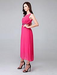 Damen Kleid Niedlich Solide Midi Polyester / Chiffon