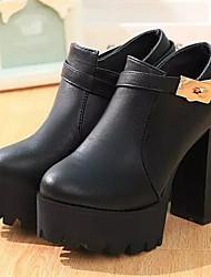 Women's Shoes Chunky Heel Round Toe Heels Dress Black