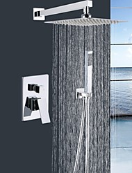 "Shengbaier® Shower Faucet Chrome Wall Mounted Double Handles Brass with 10"" Square Shower Head and Hand Shower"