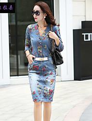 Mulheres Vestido Altura dos Joelhos Vintage / Bodycon / Casual / Estampado / Festa / Trabalho Algodão / Denim / Poliéster Manga ¾ Mulheres