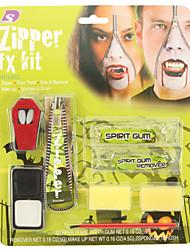 halloween zipper goma no pacote de rosto inclui pintura facial dentes de vampiro