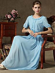 Women's Vintage/Casual Micro Elastic Short Sleeve Maxi Dress (Chiffon)