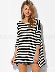 CEN     Women's Striped White Dresses , Casual Round Long Sleeve