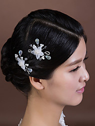 Women's Crystal Imitation Pearl Chiffon Headpiece-Wedding Special Occasion Hair Pin 2 Pieces