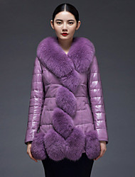 Women's Fashion Bodycon Large Fox Fur Spliced Genuine/Real Sheepskin Leather Down Jacket/Coat