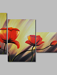 Hand-Painted Abstract Modern Oil Painting Canvas Flowers Red Poppies Home Deco Three Panels Wall Art
