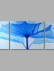 Hand-Painted Oil Painting on Canvas Wall Art Abstract Flowers Light Blue Three Panel Ready to Hang