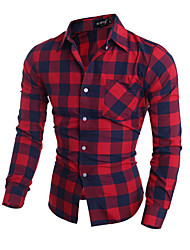 Men's Plaids Casual Shirt,Others Long Sleeve Black / Red