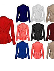 vins Women's Solid Color White Coats & Jackets , Casual / Work V-Neck Long Sleeve