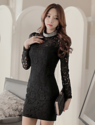 Women's Solid/Lace Black Dress , Casual/Lace Deep V/Stand Long Sleeve