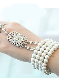 Pearl Rhineston Bracelet Wrist Corsage Ring for Party & Wedding (1 pc)