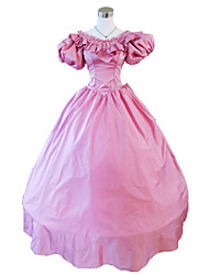 One-Piece/Dress Gothic Lolita Steampunk® / Victorian Cosplay Lolita Dress Pink Solid Short Sleeve Long Length Dress For WomenSatin / Lace