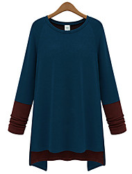 Quior Women's Color Block Multi-color T-Shirts , Casual Round Long Sleeve