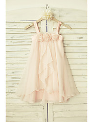 Sheath / Column Knee-length Flower Girl Dress - Chiffon Sleeveless Straps with