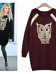 Tan    Women's Print Black Dresses , Casual / Party / Work Round Long Sleeve plus size