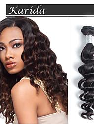3шт / много 12-30 дюймов оптовой девственница перуанских волос естественная волна переплетения волос