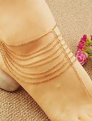 as mulheres da moda cadeia de placa de ouro de praia tornozeleiras borla multicamada