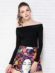 Women's Solid Black T-shirt , Off Shoulder / Bateau Long Sleeve