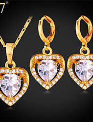 U7® Women's Clear Cubic Zirconia Earrings Pendant Necklace 18K Gold/Platinum Plated Romantic Heart Jewelry Set