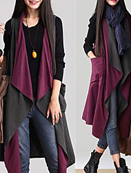 CEN     Women's Solid Color Purple Coats & Jackets , Casual / Party Asymmetrical Long Sleeve