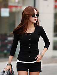 Damen Solide Einfach / Street Schick Lässig/Alltäglich T-shirt,Rundhalsausschnitt Herbst Langarm Weiß / Schwarz Mittel