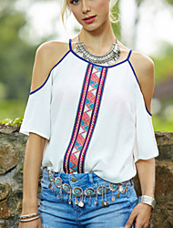 Mulheres Camiseta Happy-Hour Sensual Verão,Estampado Branco Poliéster Decote Redondo Manga Curta Média
