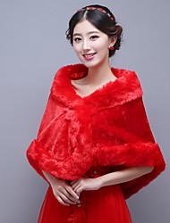 Red Sleeveless Wedding Wraps Imitation Cashmere Capes