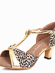 Latin Women's Dance Shoes Sandals Satin Cuban Heel Black/Brown/Gold/Leopard