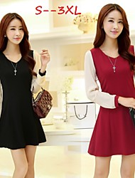 Women's Patchwork Red/White Plus Size Dresses , Casual/Cute/Work Round Long Sleeve