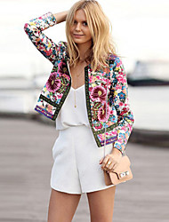 Women's Floral Multi-color Coats & Jackets , Casual / Print Stand Long Sleeve