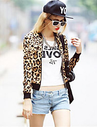 Women's Leopard Gold Jackets , Casual Round Neck Long Sleeve