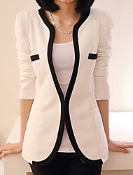 YUYI Women's Patchwork White / Black Coats & Jackets , Casual Stand Long Sleeve