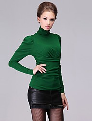 Women's Plus Size / Sexy Spring Blouse,Solid Turtleneck Long Sleeve Black / Green / Purple Cotton / Rayon Medium