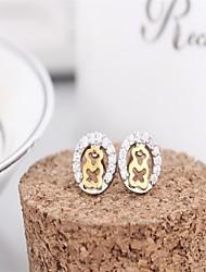 Korean tv Drama 925 Sterling Silver Earrings Rose Gold Litter Bear 3a cz Stud/ Branded Earrings Mercurial Superfly