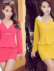 CEN     Women's Solid Color Yellow Dresses , Casual V-Neck Long Sleeve