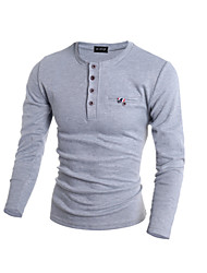 Men's Solid Casual / Sport Pullover,Cotton / Polyester Long Sleeve Black / Blue / Gray