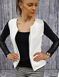 CEN     Women's Patchwork White / Black Coats & Jackets , Sexy / Casual Round Long Sleeve