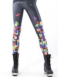 Women Leggings Fashion Tetris Skinny Legging