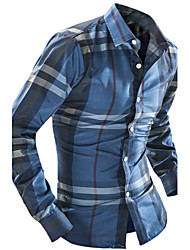 Men's Long Sleeve Shirt , Cotton Casual / Work Print / Plaids & Checks