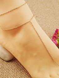 placa de ouro simples praia cadeia tornozeleira yoga das mulheres