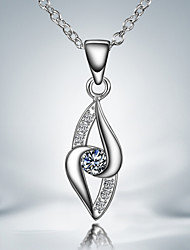 Hot Sale Long Necklaces Casual Silver Plated Pendant Necklace Wedding jewelry Bridal AAA Cubic Zircon