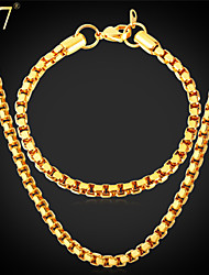 U7® Men's Classical Box Chain Bracelet Stainless Steel Jewelry 18K Real Gold Plated High Quality Necklace Bracelet Set