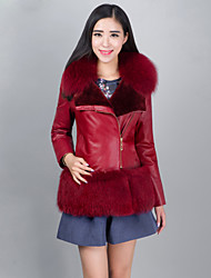 Women's Casual Bodycon Wool Fur Lining Spliced Genuine/Real Sheepskin Jacket/Coat