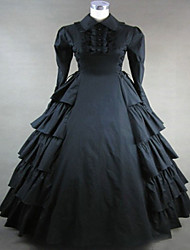 One-Piece/Dress Gothic Lolita Steampunk® / Vintage Inspired Cosplay Lolita Dress Black Vintage Long Sleeve Long Length Dress For Women