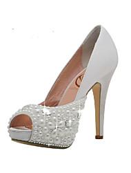 Women's Spring / Summer / Fall Heels / Peep Toe / Platform Satin Wedding / Dress / Party & Evening Stiletto Heel Crystal / Beading White