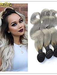 gris 3pcs armadura onda del cuerpo brasileños / lot plata ombre gris pelo que teje 1b / gris de dos tonos extensión del pelo brazillian