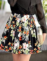 Faldas ( Poliéster / Viscosa )- Casual / Impresión / Fiesta Tiro Alto Sobre la Rodilla para Mujer