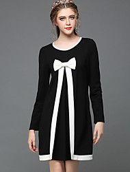 Women Clothing Autumn Winter Vintage Elegance Black White Patchwork Bowknot Loose Long Sleeve Party/Casual/Work Dress